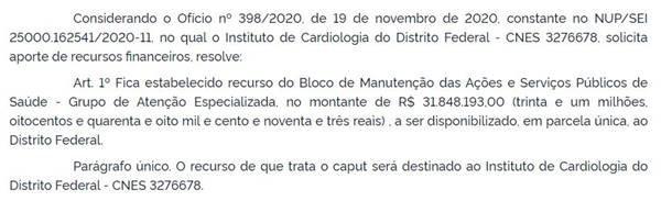 Ministério da Saúde envia R$ 31,9 milhões para socorrer ICDF