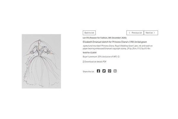 Print de site com croqui do vestido de casamento de Lady Di