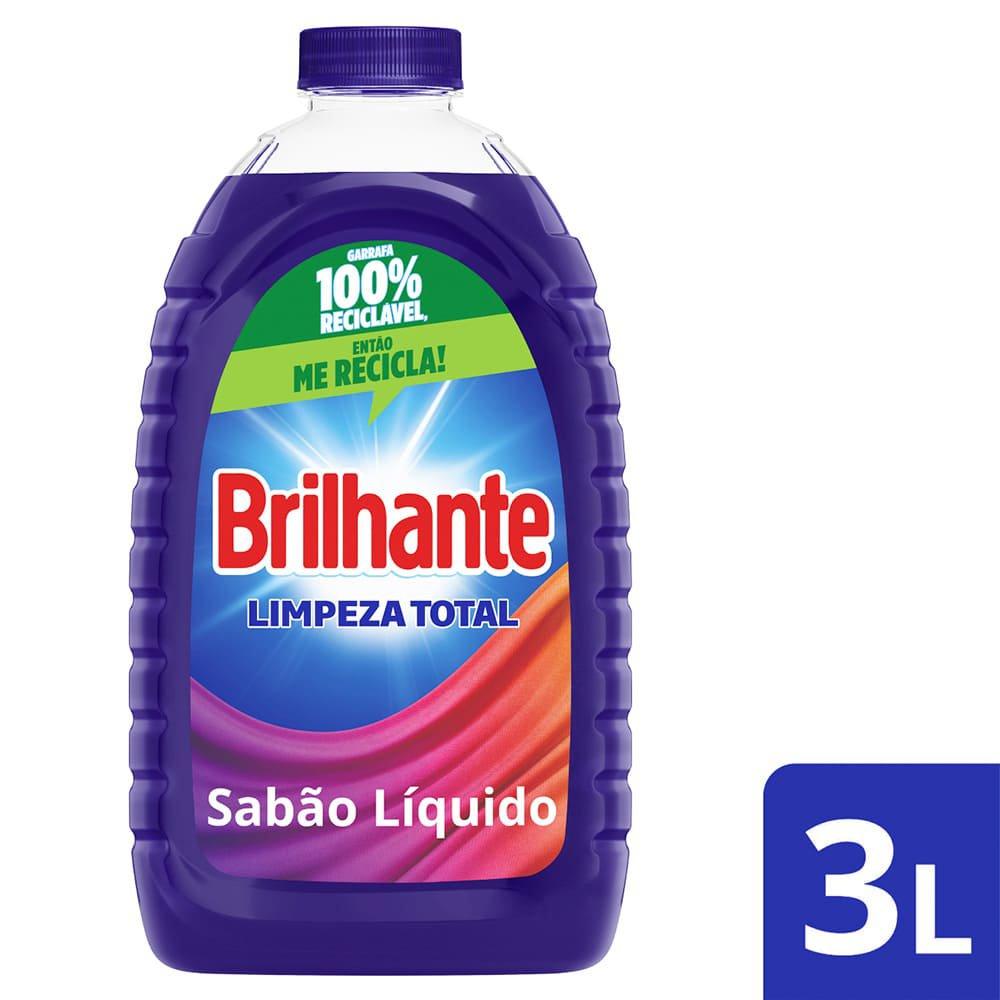 Detergente líquido, da Brilhante, com três litros