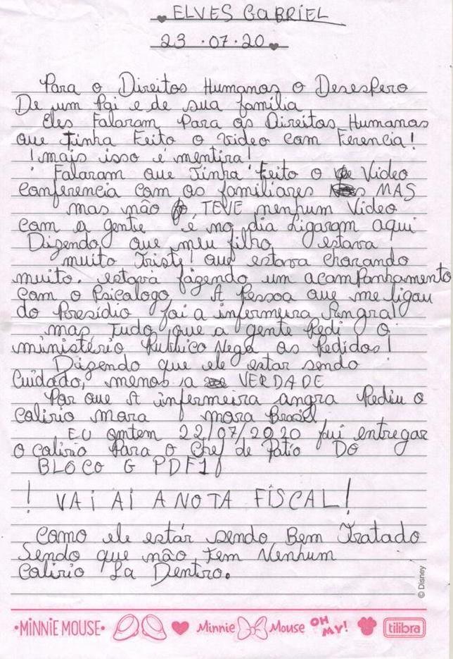 Pai de preso na Papuda escreve carta em desespero