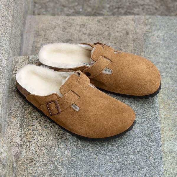 Sandálias Boston com forro de shearling, da Birkenstock