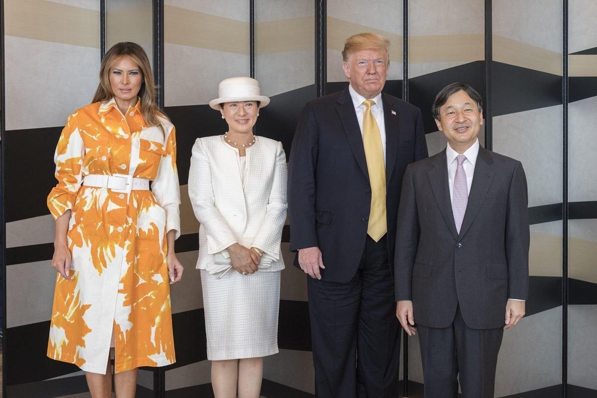 Melania Trump, imperatriz consorte Masako, Donald Trump e imperador Naruhito