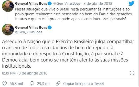 General Eduardo Villas Bôas no Twitter sobre Lula