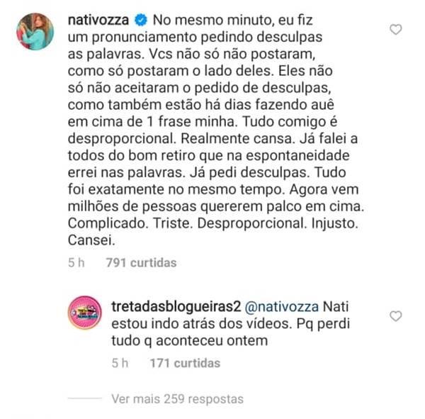 Comentário de Nati Vozza no Instagram