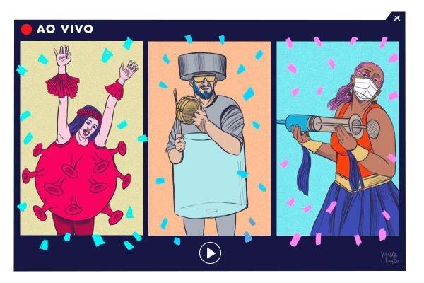 Desenho de pessoas curtindo o carnavl por meio de live com fantasia de coronavírus, vacina e outros