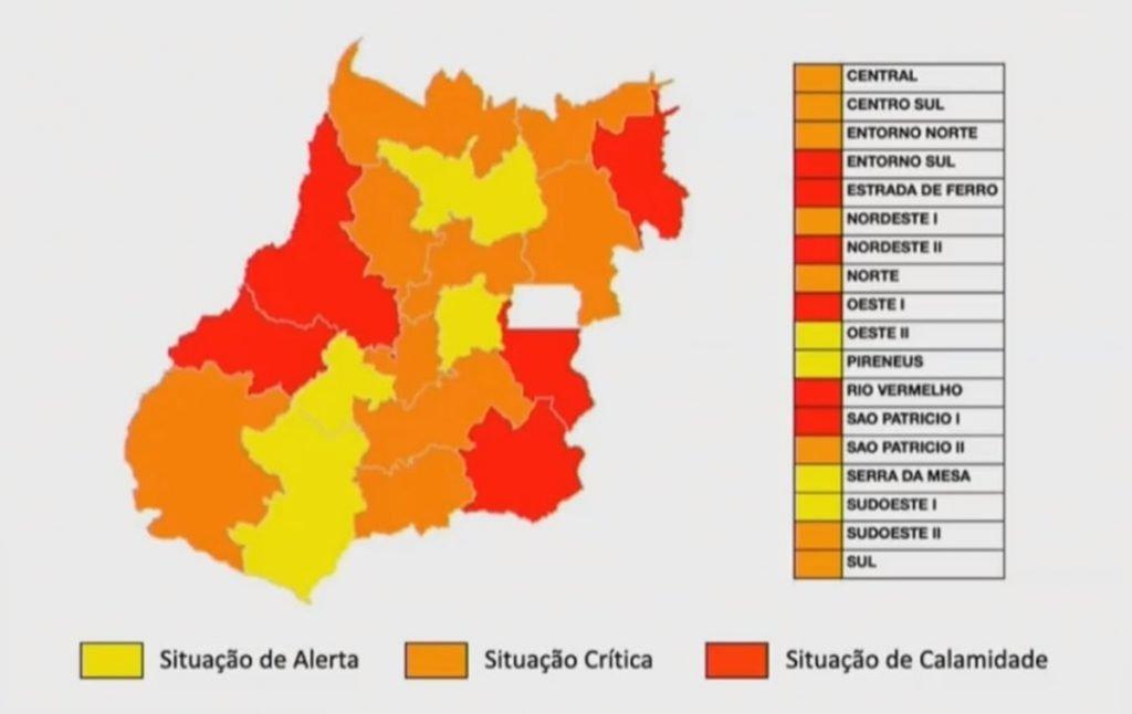 Mapa de gravidade da pandemia em Goiás