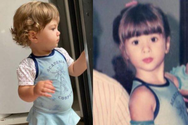 Tatá Werneck mostra a filha de 1 ano usando roupa que foi sua, aos 4