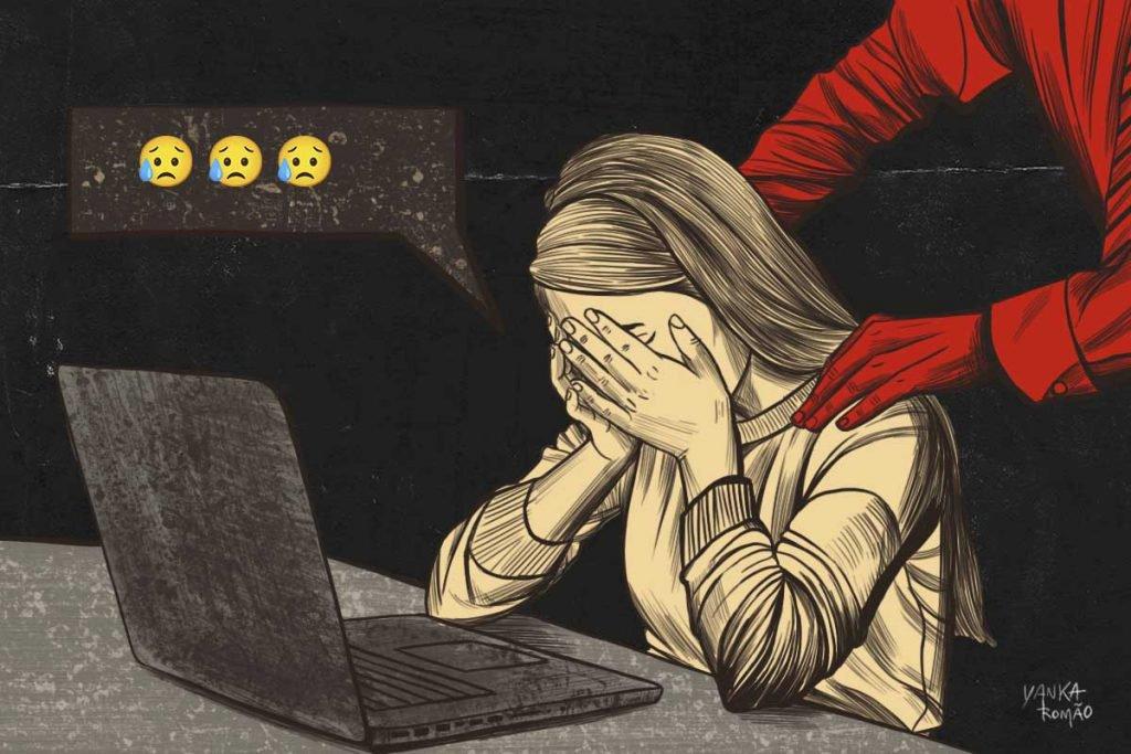 Ilustração que apresenta situação de assédio no trabalho