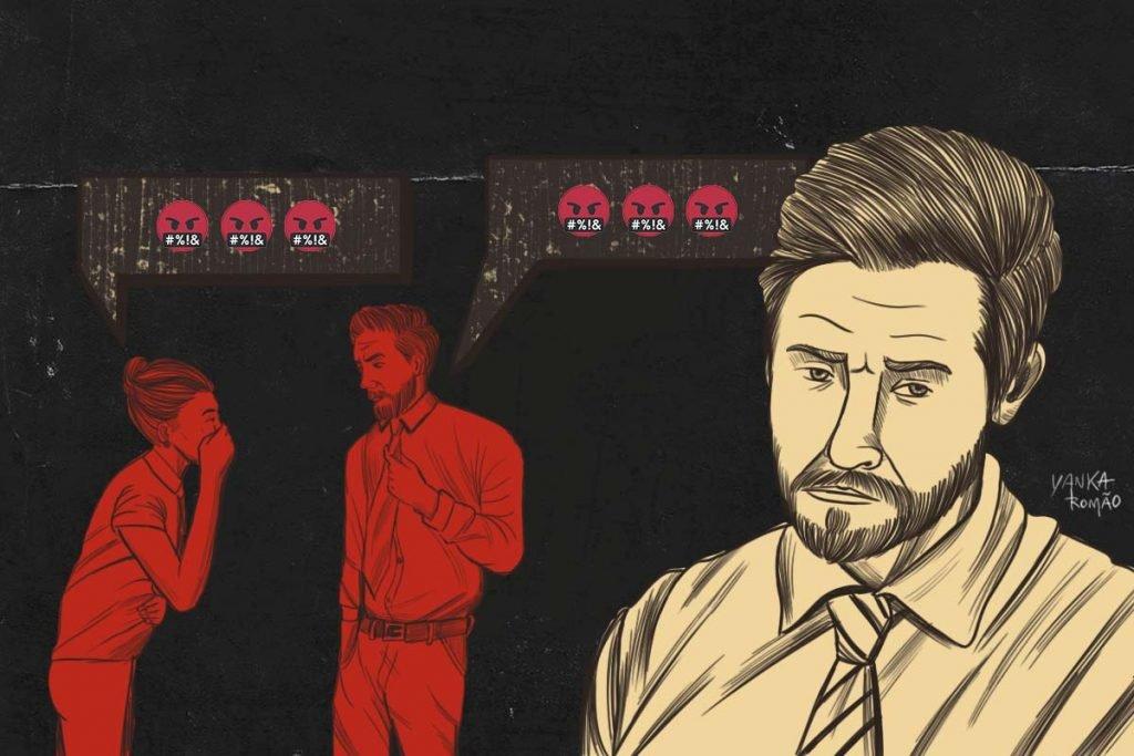 Ilustração que apresenta situação de assédio no trabalho (3)