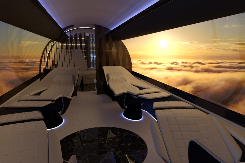 telas de oled no interior de avião