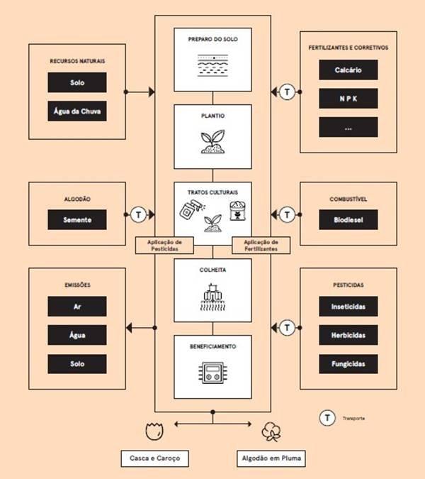 Mapa de processo da etapa de produção do algodão