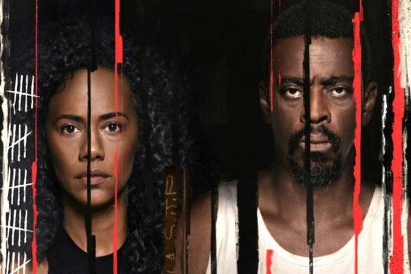 Naruna Costa e Seu Jorge no poster da série Irmandade da Netflix