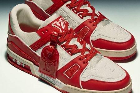 Protótipo do tênis Louis Vuitton I Red autografado pelo estilista Virgil Abloh