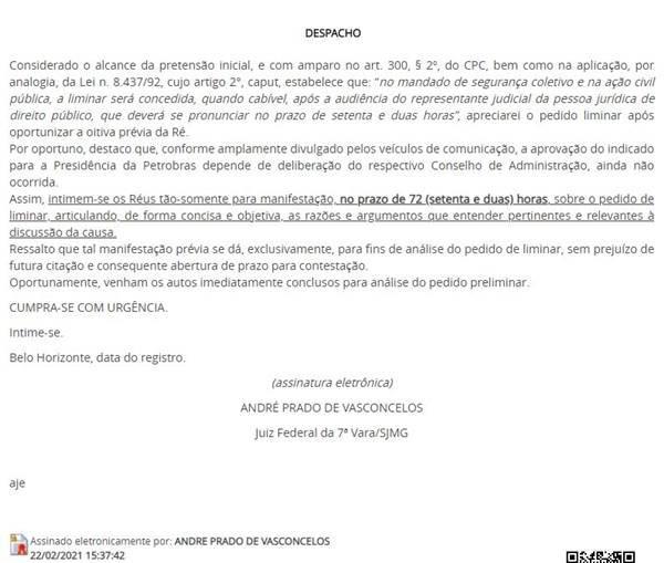Justiça dá 72h para Bolsonaro se manifestar sobre troca na Petrobras