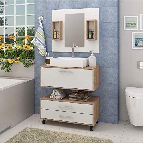 Conjunto para banheiro com espelheira, cuba, gabinete suspenso e gaveteiro, da Siena Móveis