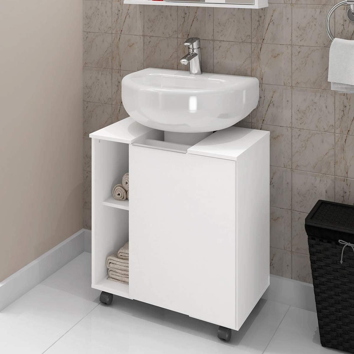 Gabinete branco, da Móveis Bechara, com 58cmx42cmx12cm