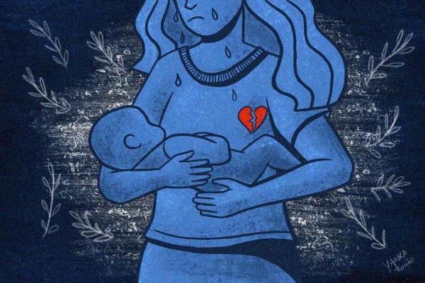 ilustração de uma mulher com o coração partido segurando um bebê