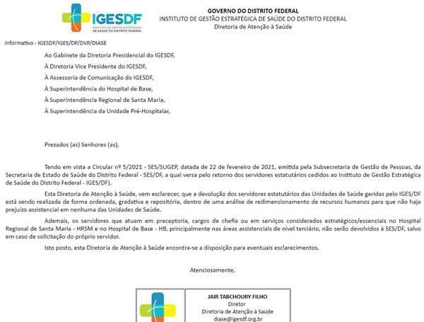 Iges-DF poupa servidores em cargos de chefia de regressarem ao GDF