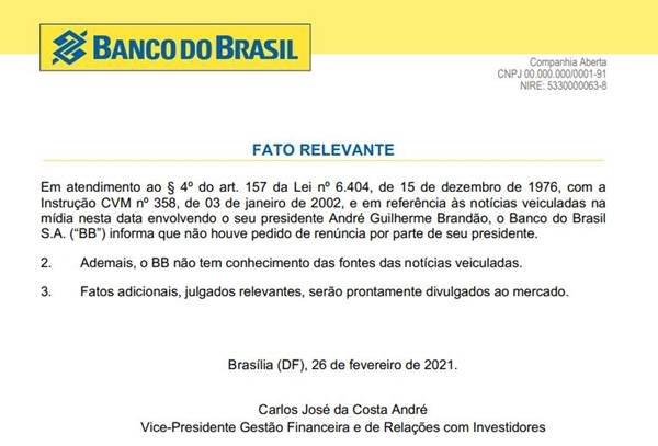 Fato Relevante do BB sobre saída de André Brandão