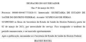 Despacho assinado por Ibaneis Rocha