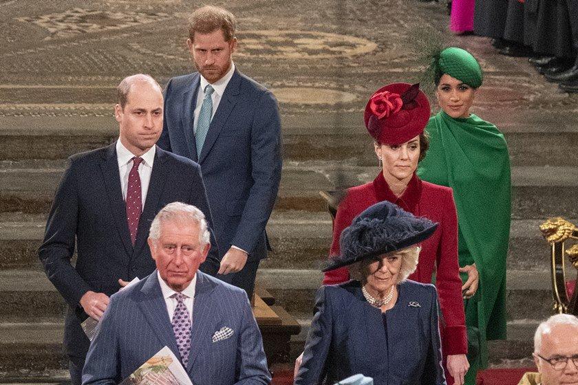 Príncipe Charles, Camilla Parker Bowles, príncipe William, Kate Middleton, príncipe Harry e Meghan Markle