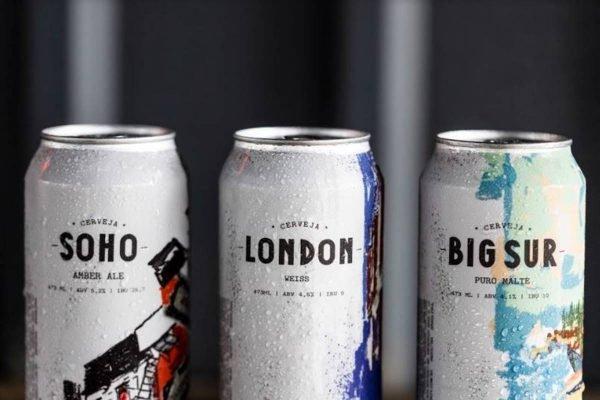 Três latas de cervejas artesanais