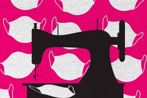Ilustração de máquina de costura com máscaras ao fundo