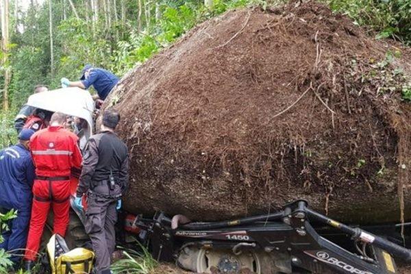 Pedra gigante cai sobre trator em SC