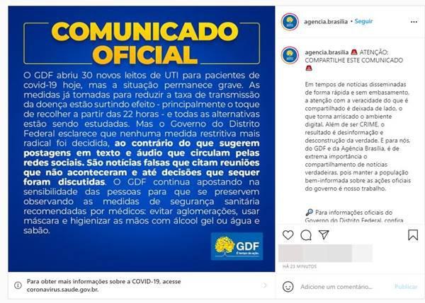 Comunicado do GDF sobre lockdown total