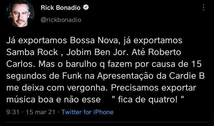 Tuíte Rick Bonadio