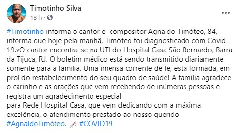 Agnaldo Timóteo diagnosticado com Covid-19