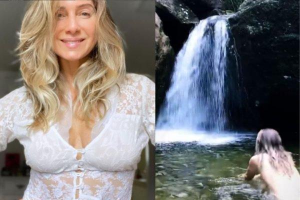 Leticia Spiller nada nua em cachoeira