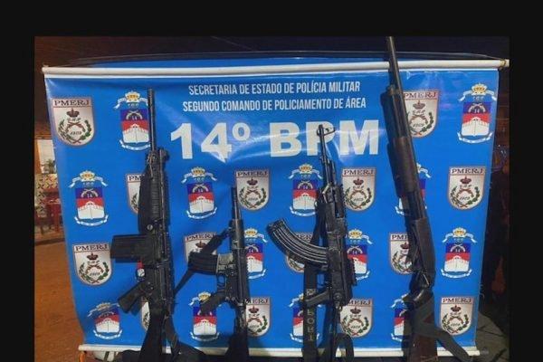 Armas apreendidas em confronto com bandidos da zona oeste do Rio