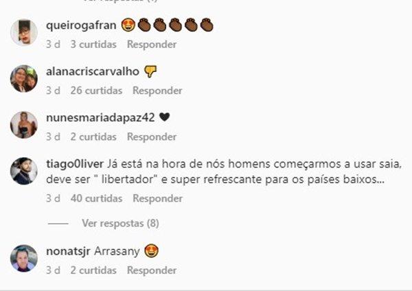 Comentário em rede social sobre coleção genderless da C&A