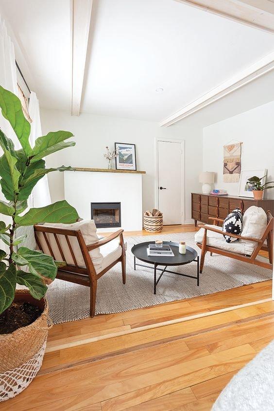 Sala ampla com planta