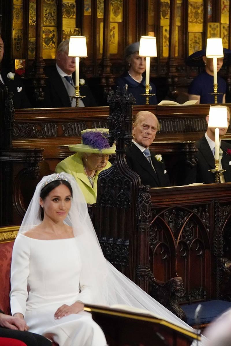 Meghan Markle, rainha Elizabeth II e príncipe Philip