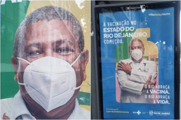 Campanha anticovid do Rio de Janeiro mostra homem com máscara ao contrário