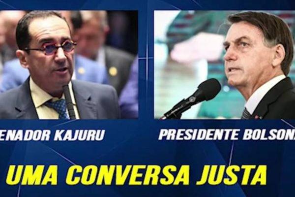 Imagem do senador Jorge Kajuru e do presidente Jair Bolsonaro com legenda 'uma conversa justa
