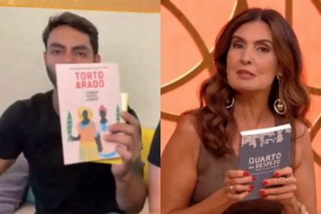 Rodolffo recebe livros antirracista de Fátima Bernardes