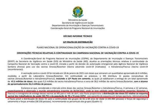 Informe técnico do Ministério da Saúde