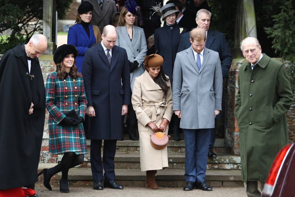 Kate Middleton, príncipe William, Meghan Markle, príncipe Harry e príncipe Philip