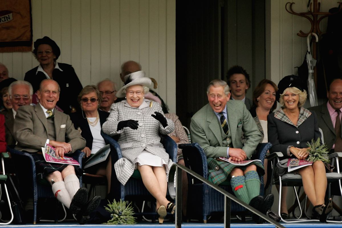 Príncipe Philip, rainha Elizabeth, príncipe Charles e Camilla Parker Bowles