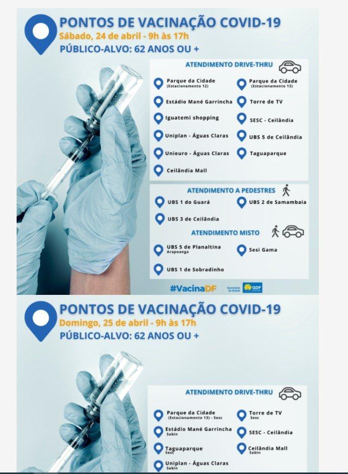 postos de vacinação no DF