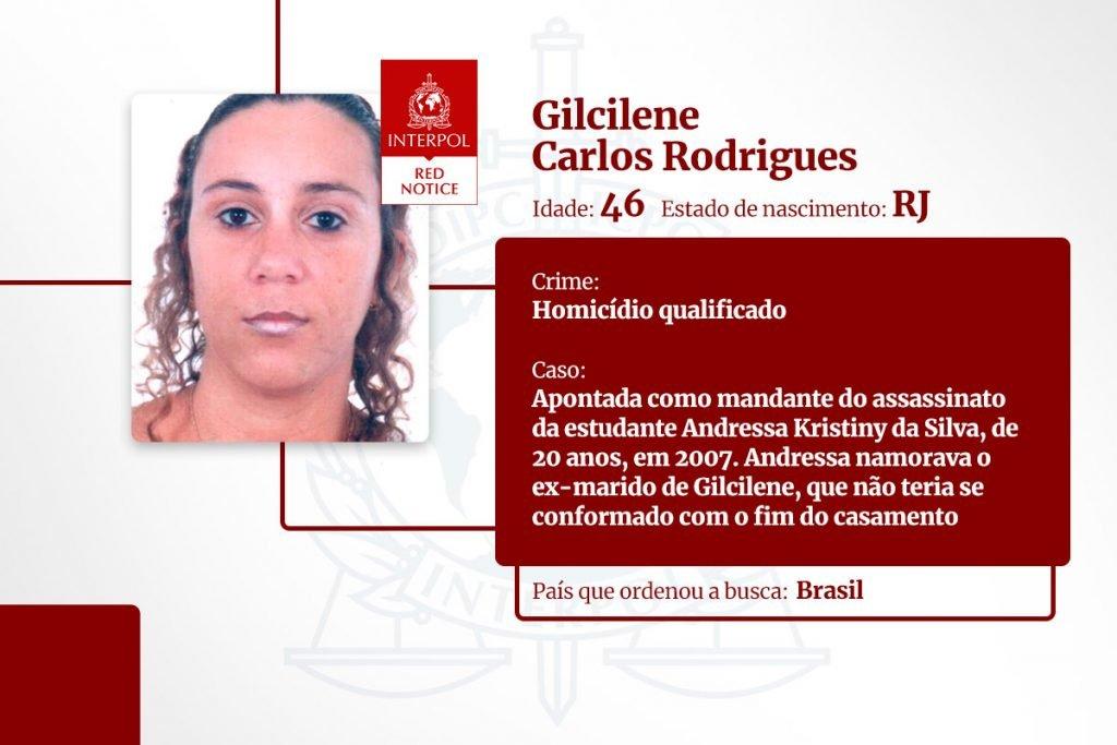 Gilcilene Carlos Rodrigues - lista de brasileiros na Interpol