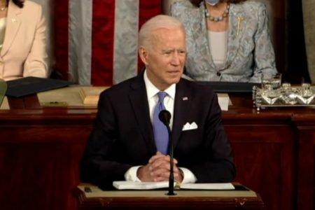 Presidente dos EUA, Joe Biden, em discurso no Congresso norte-americano
