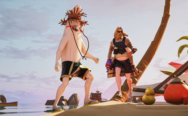 Modelo virtual com havaianas