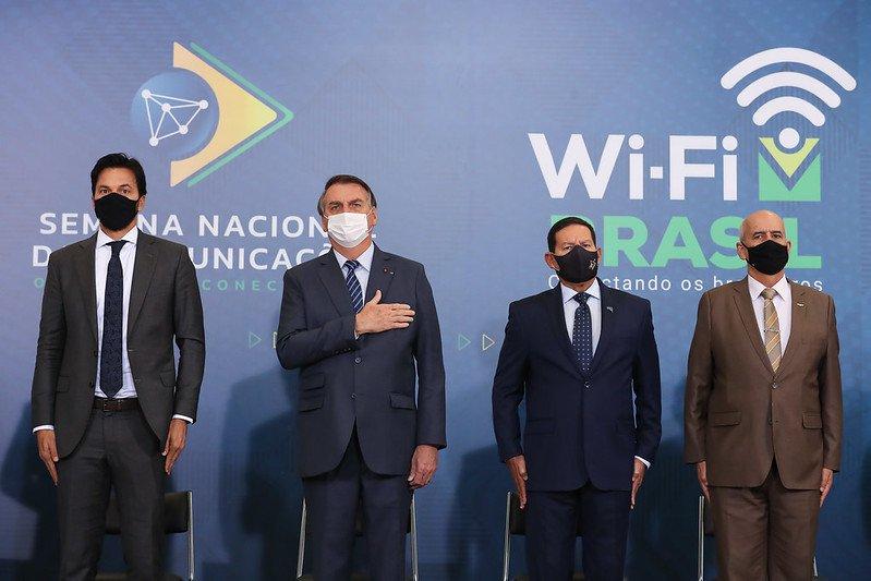 Fábio Faria, Jair Bolsonaro, Hamilton Mourão e Luiz Eduardo Ramos