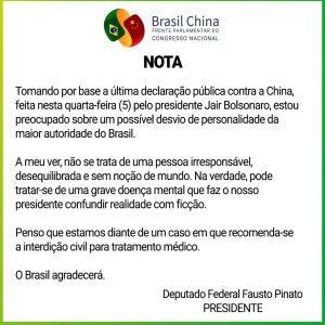 """Frente Parlamentar Brasil-China reagiu às falas do presidente Jair Bolsonaro de que a China teria """"criado"""" o novo coronavírus"""