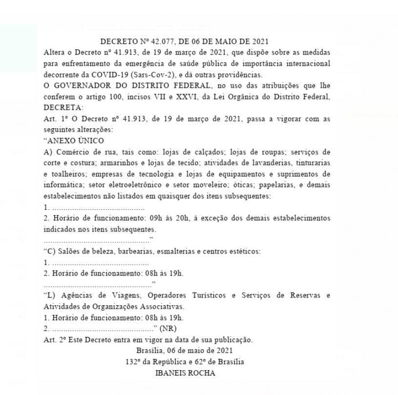 Decreto amplia o horário do funcionamento do comércio no DF