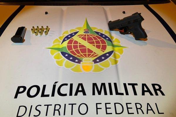 Arma usada por homem preso por atirar na rua no Núcleo Bandeirante